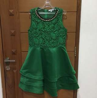 Green cocktail party dress