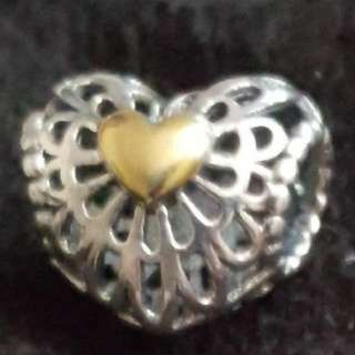 Authentic Pandora openwork heart 14K on both sides of the pandora
