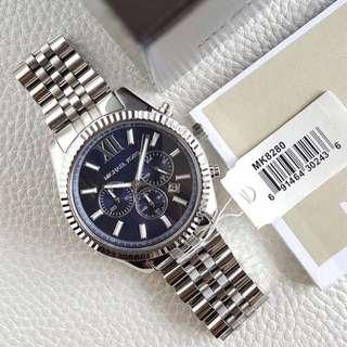Authentic MK Lexington Chronograph Silver Tone Navy Dial Men's Stainless watch