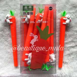12 pcs. Rabbit and carrot gel pens