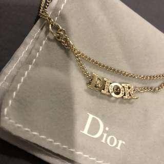 Dior 鎖骨鏈 淡金 有石