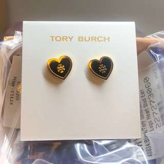 Tory burch lacquered logo heart stud black earring