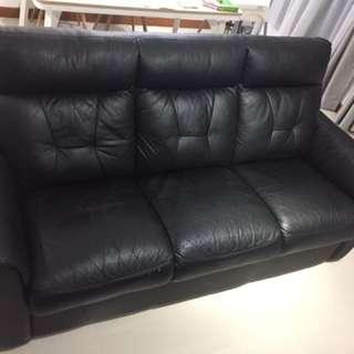 Black PU Leather Sofa