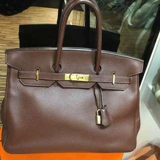 正品 90%新 Hermes Birkin 35 朱古力色金扣手挽袋