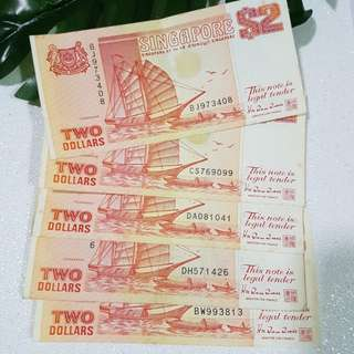 Ship Series- Singapore  $2 note x 5