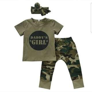 ❤INSTOCK❤ Baby Girl/Boy Army Camo Set