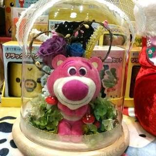 原裝 日本迪士尼公仔 製作 超可愛 Lotso 勞蘇 坐款 永恆花 保鮮花 永生花 卡通花 情人節禮物 L size