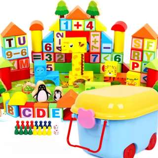 BN 100pcs Wooden Building Animal Blocks (ABCs and 123s)