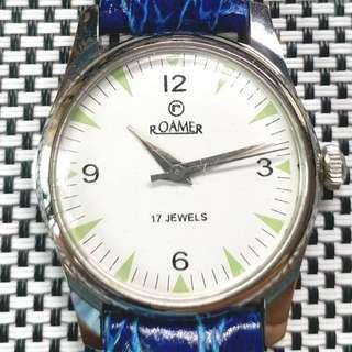 90年代中古Roamer羅馬機械錶, 17石上弦機芯,已抹油,行走精神 ,塑膠上蓋,直徑34mm不連霸的, 淨錶$600,有意請pm