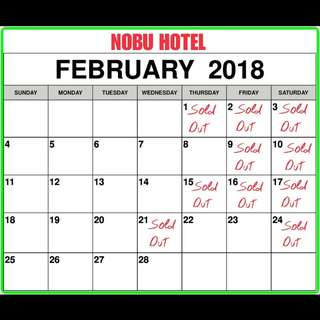 Nobu and Conrad Hotel Available Dates