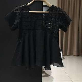 No Brand Black Crochet Top (Size S)