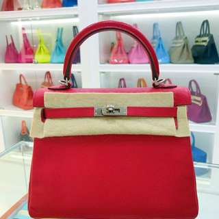 Hermes Kelly 25 Q5糖果紅 Epsom