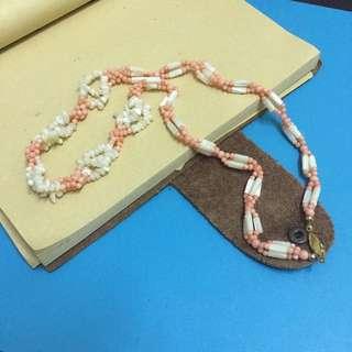 粉红珊瑚 贝壳 项链