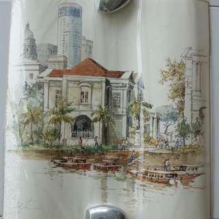 """Original & Authentic Watercolor Painting by Singapore Local Artist Tan Leong Kheng """"Asian Civilisations Museum"""" 40cm X 38cm"""