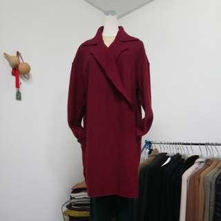 🇮🇹義大利製 100%處女羊毛暗釦式輕盈大衣