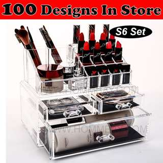 Clear Acrylic Transparent Make Up Makeup Cosmetic Jewellery Jewelry Organiser Organizer Drawer Storage Box Holder (S6)