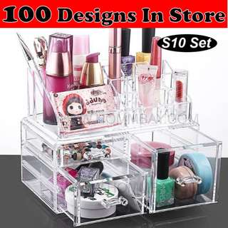 Clear Acrylic Transparent Make Up Makeup Cosmetic Jewellery Jewelry Organiser Organizer Drawer Storage Box Holder (S10)