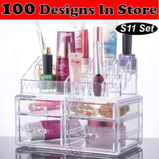 Clear Acrylic Transparent Make Up Makeup Cosmetic Jewellery Jewelry Organiser Organizer Drawer Storage Box Holder (S11)