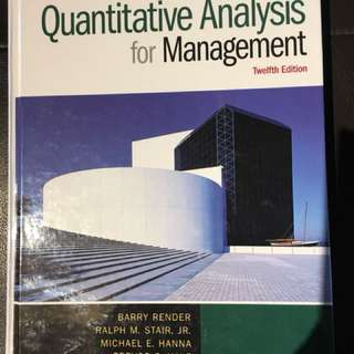 Quantitative Analysis for Management Textbook