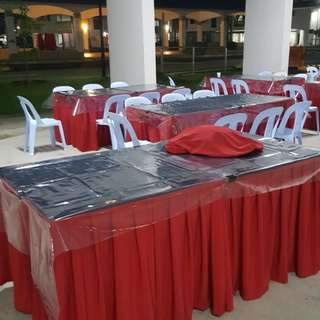 Rental of square tables n chairs with skirting