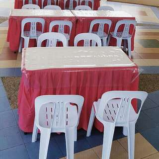 Rental of rectangular tables n chairs with skirting