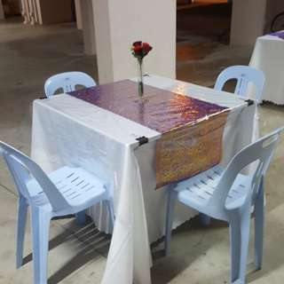 Rental of Square tables n chairs with skirting n table runner +flower