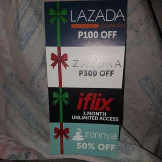 Voucher for Lazada, Zalora, iflix and zennya