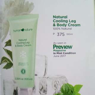 Natural cooling leg and body cream