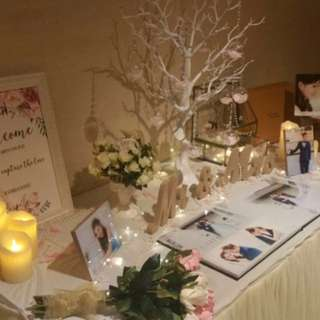 Wedding photo album reception table decor