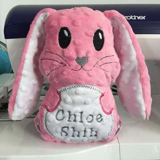 Handmade bunny soft toy and cuddle