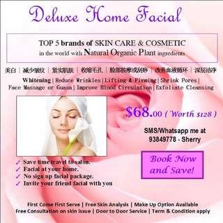 Deluxe Home Facial Service
