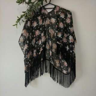 Pink And Black Floral See Through Overthrow Top Size 10-14