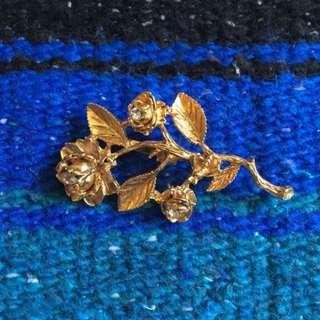現貨美國二手Vintage 金色野生玫瑰胸針