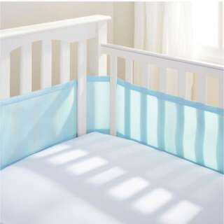 Breathablebaby Mesh Cot Liner In White / Light Blue