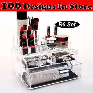 Clear Acrylic Transparent Make Up Makeup Cosmetic Jewellery Jewelry Organiser Organizer Drawer Storage Box Holder (R6)