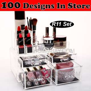 Clear Acrylic Transparent Make Up Makeup Cosmetic Jewellery Jewelry Organiser Organizer Drawer Storage Box Holder (R11)