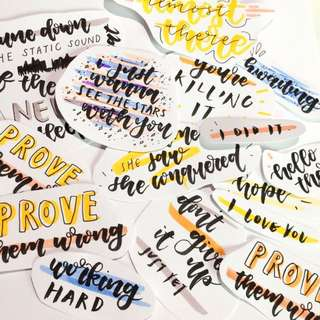 customisable handmade quotes and lettering!! (stickers)