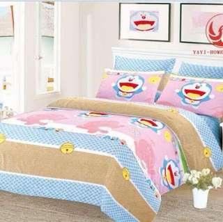 Doraemon 3D Semi Cotton Bedsheet Set