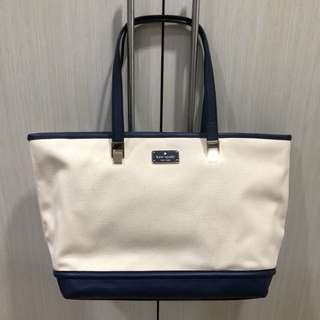 Kate Spade Natural/French Navy Canvas Leather Oliver Street Taren Shoulder - Large Tote
