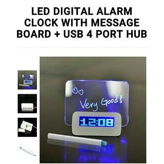 *100% NEW & UNUSED* Korean digital alarm clock from DesignEver Hyunjin with fluorescent light-up message board (with highlighter pen & USB cable accessories in the box)