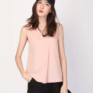 Fold over Tank Top in Pink M