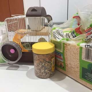 Small cage, sand bath, food and haye
