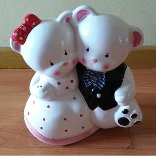 Bear Couple Figurine and Piggy Bank