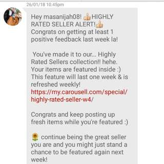 Highly rated seller! thank you carousell