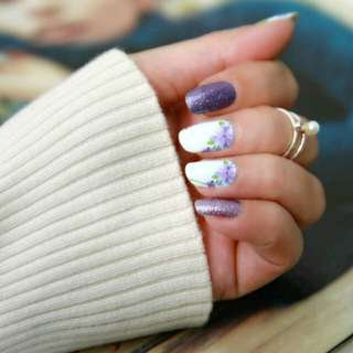 Floral with Glitter Nail Wraps
