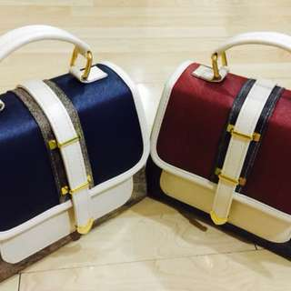 Tri Colored Gold Toned Structured Satchel Bag
