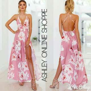 Sexy Back Floral Maxi Dress