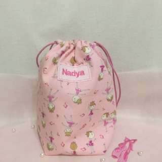 Handmade ballerina drawstring pouch with name embroidery