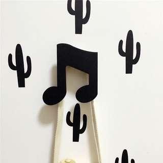 木質造型掛鉤/門把/窗簾鉤/牆飾 - 黑音符