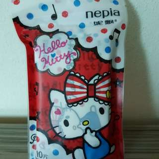 Hello Kitty wet tissue. Individual pack
